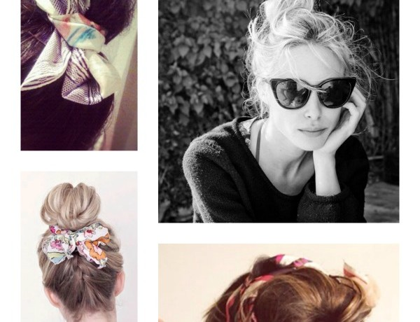Summer Vacation Hairstyle- Top Bun Scarf Hair Wraps