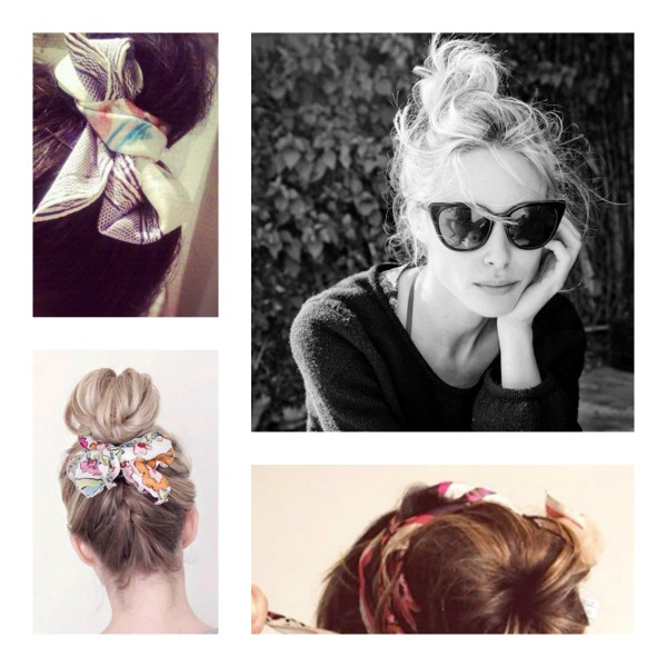 Summer Vacation Hairstyle- Top Bun Scarf Hair Wraps