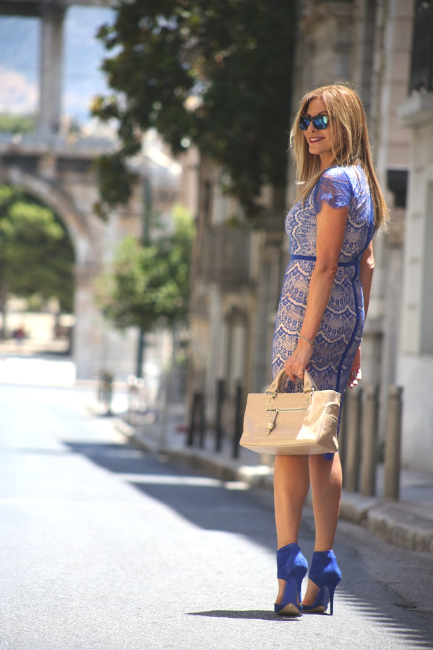 Blue lace midi dress Athens