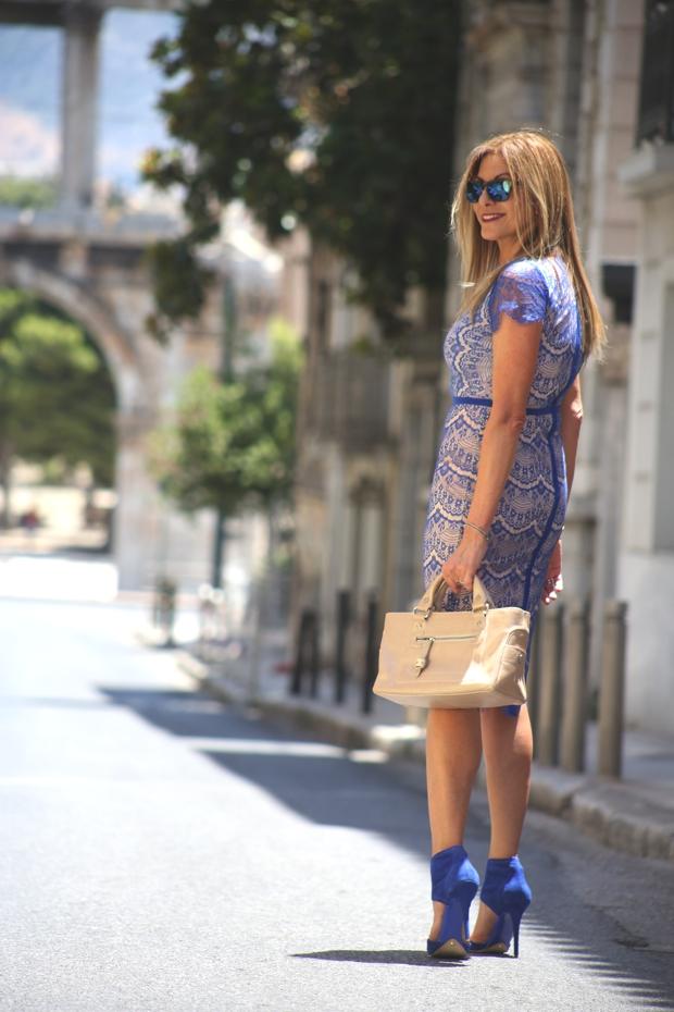 Blue lace midi dress Athens