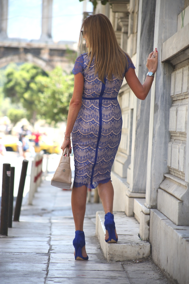 Cobalt blue lace dress Brian Atwood shoes