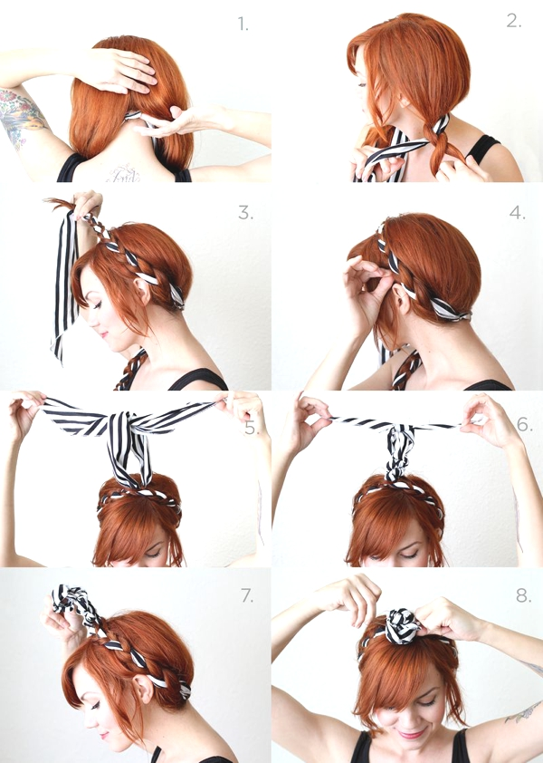 stripped scarf summer hairstyle