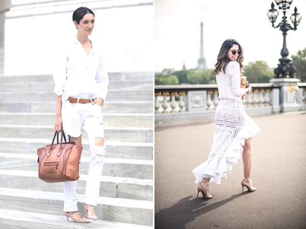 white on white street style nude shoes