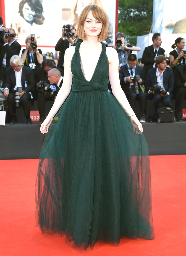 Emma Stone looked stunning in an emerald tulle gown by Valentino
