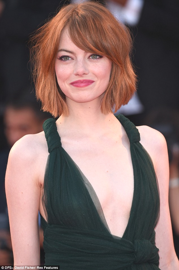 Emma Stone new haircut venice 2014