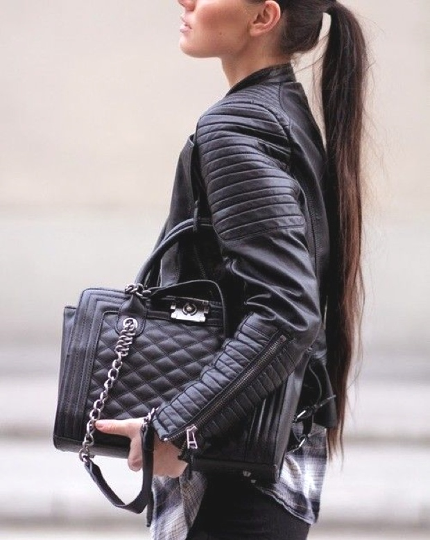 extra long hair Chanel bag