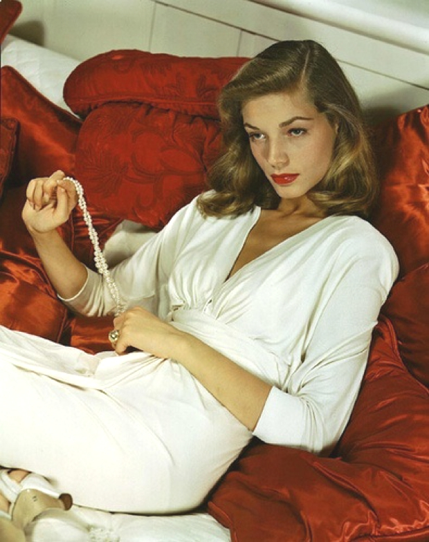 Lauren bacall white dress
