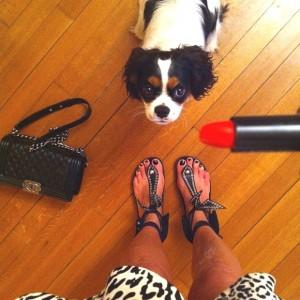 Spot Orange lipstick Chanel bag