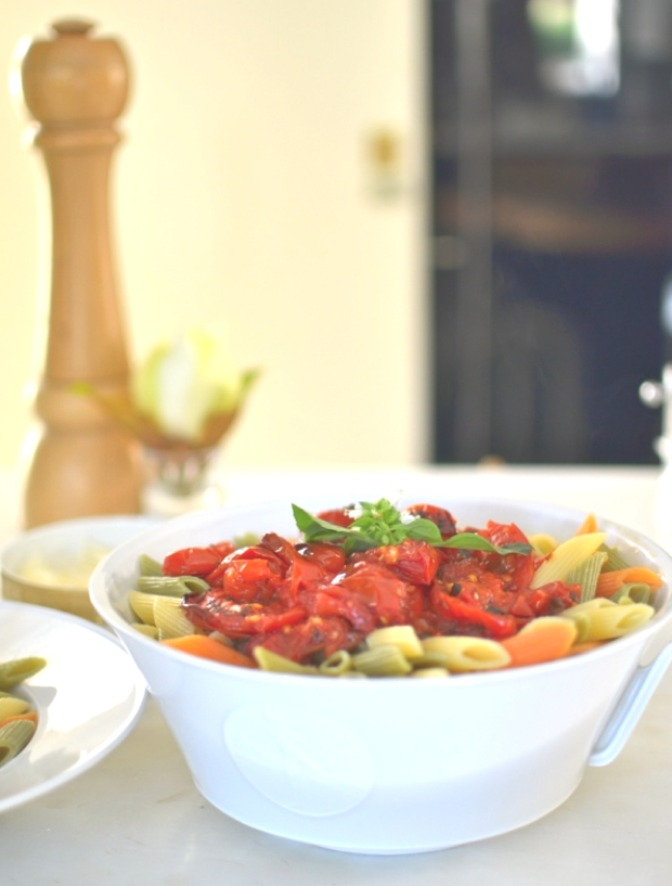 Grilled Cherry Tomatoes Pasta Sauce served