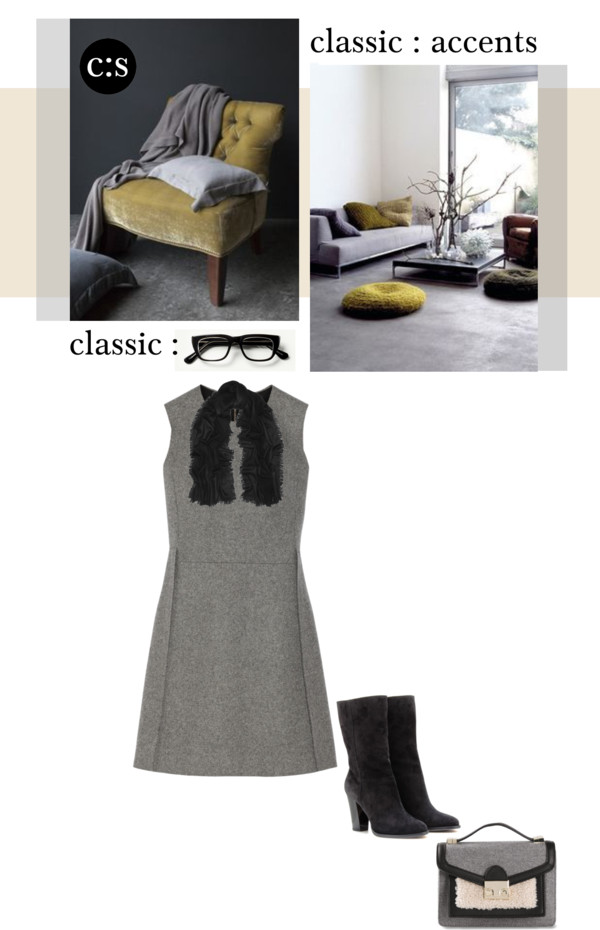 Gray Dress Fall Classic Outfit collage