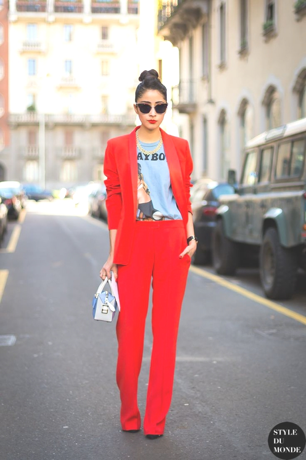 red pants suit street style