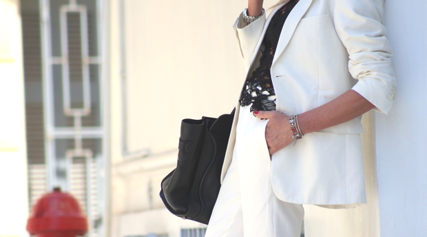 white women pants suit Celine handbag
