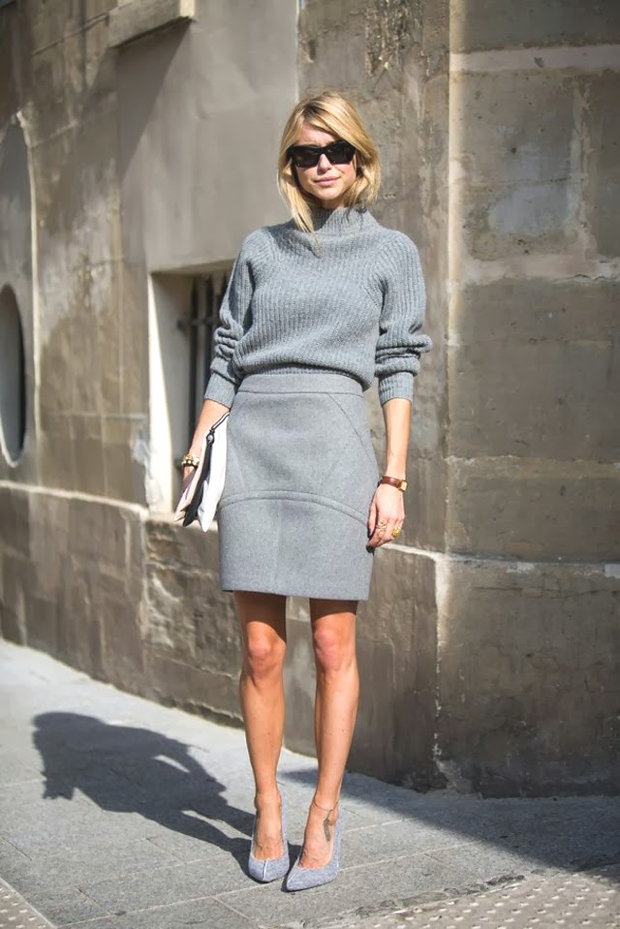 Gray on Gray trend skirt sweater
