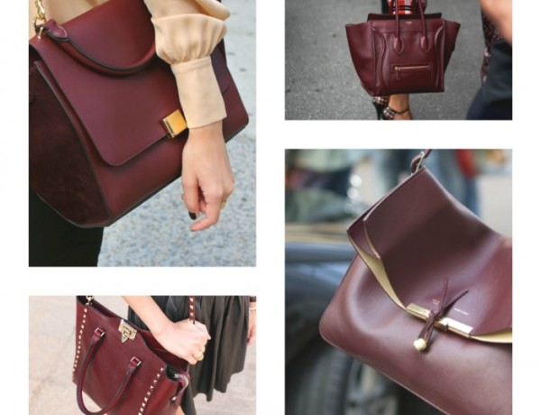 Burgundy shades handbags