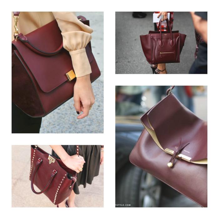 Burgundy shades handbags