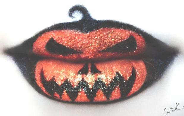 Halloween pumpkin lips
