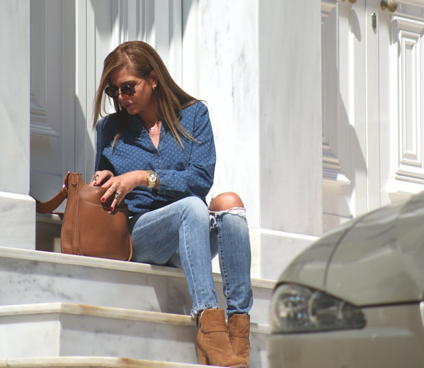 Double denim tan accessories Street style TrendSurvivor Nina Papaioannou
