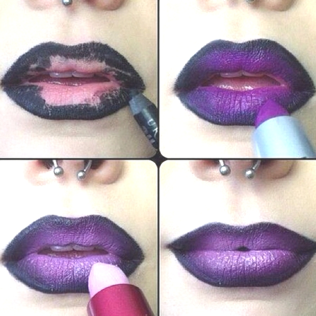 Halloween lips makeup spooky tutorial black with mauve