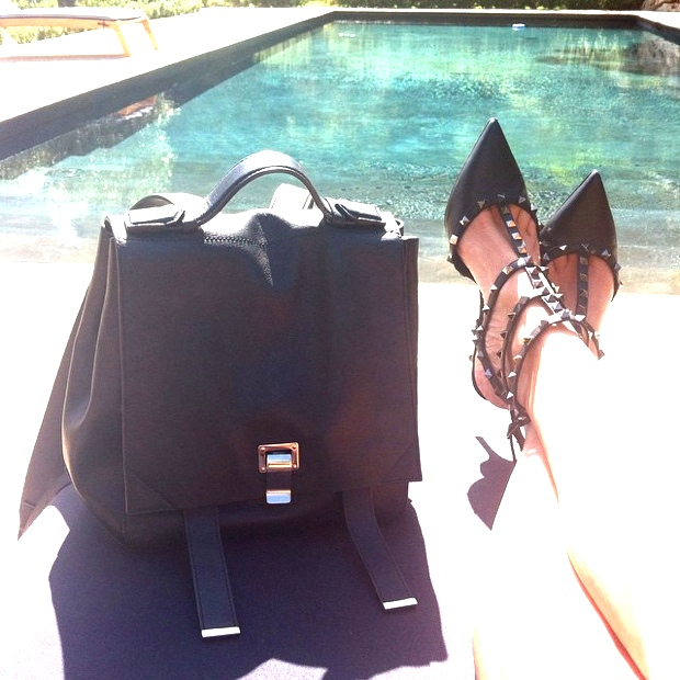National Handbag day Proenza Schouler backpack and Valentino rockstud black