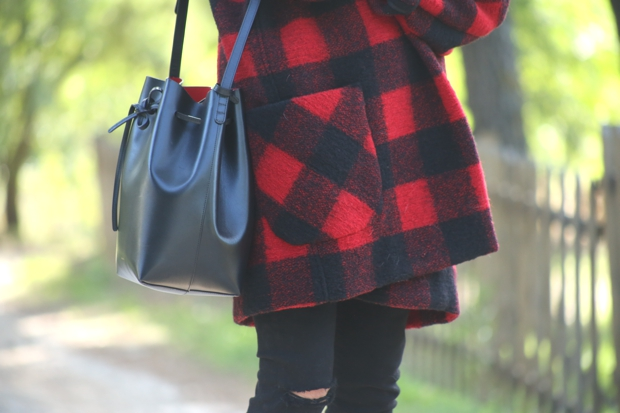 Plaid jacket Isabel Marant Mansur Gavriel Flamma bucket