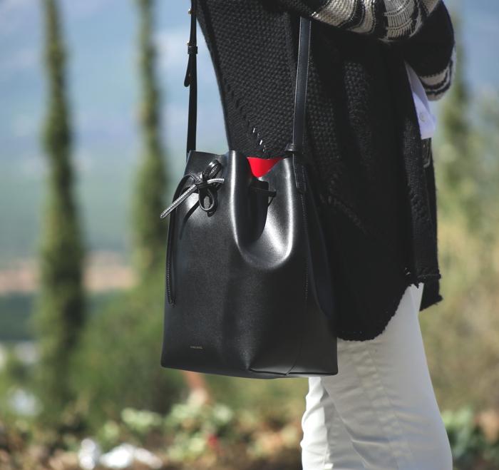 Black Oversized Cardigan Street Style Mansur Gavriel bucket