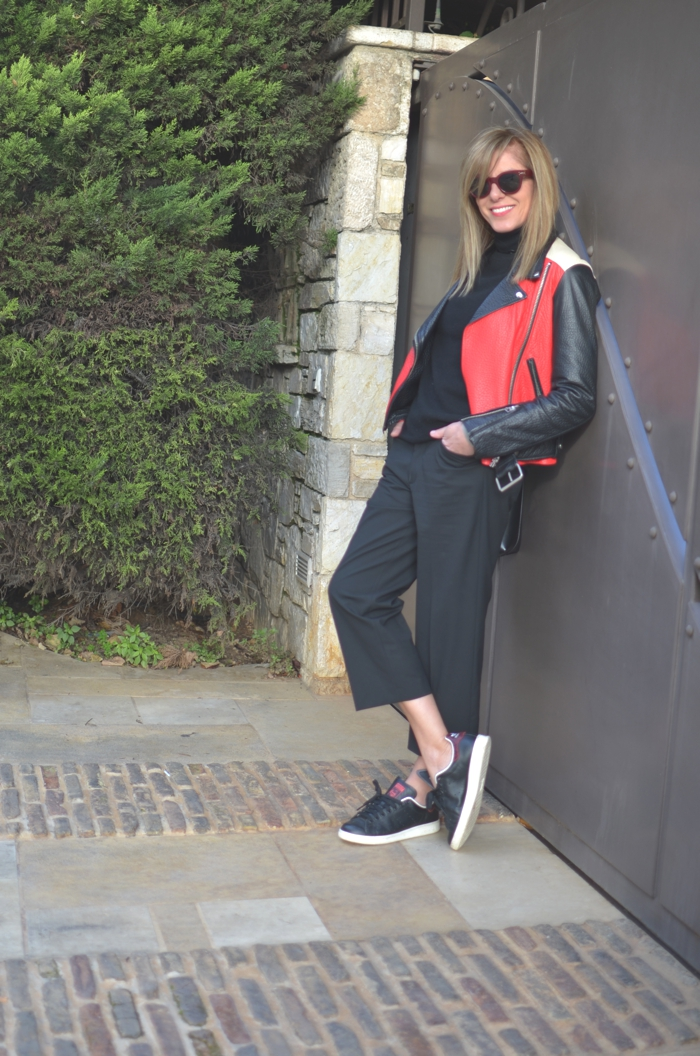 Day to Night Outfit Sneakers and Pumps-Cropped wide leg pants biker jacket Acne Nina Papaioannou