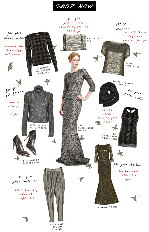 Alice and Olivia-Holiday Sparkle Party Dress