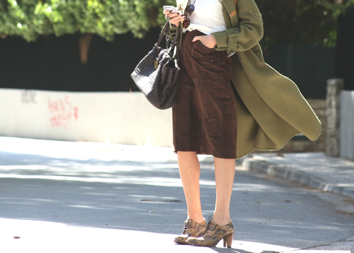 Leather midi brown skirt