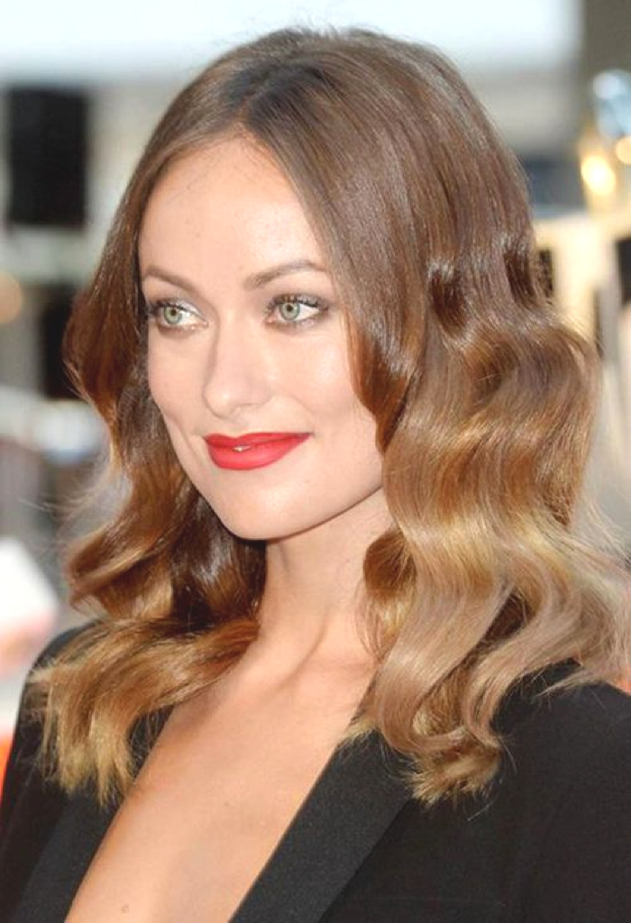 Actress Olivia Wilde ombre hair