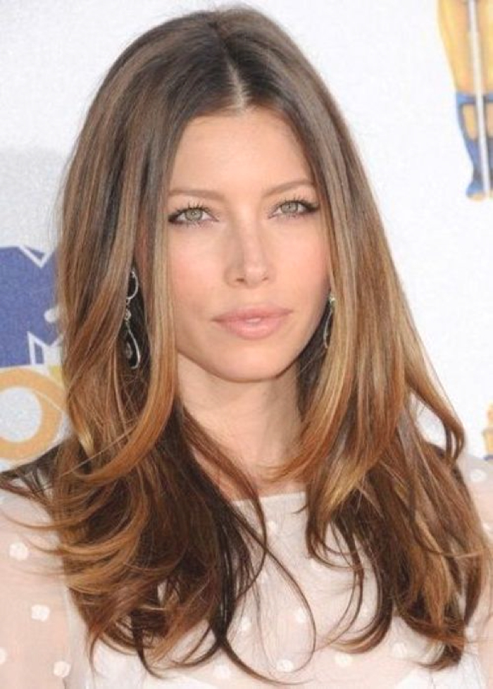 Jessica Biel Ombre Hair Color Idea: Chocolate and caramel ombre