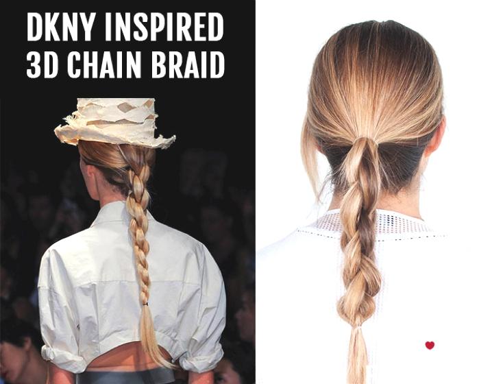 Ponytail Hairstyle Ideas | 3D Chain Braid Tutorial Donna Karan