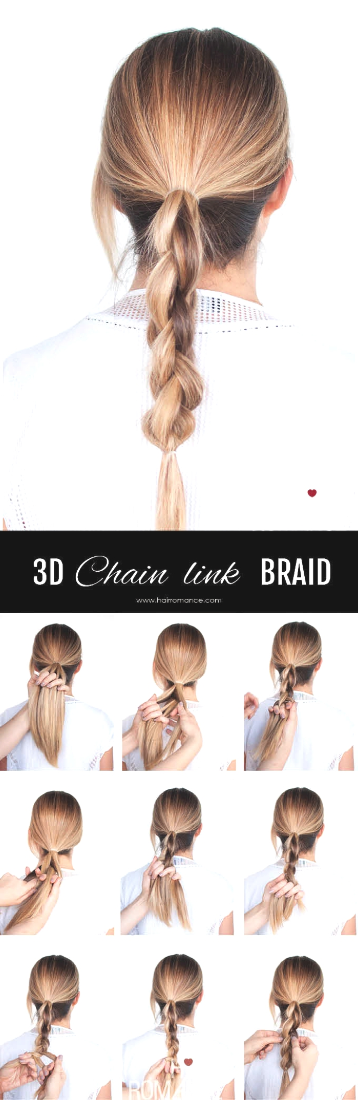 Ponytail Hairstyle Ideas | 3D Chain Braid Tutorial 03