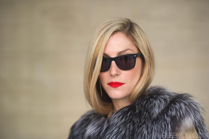 Joanna Hillman red lipstick Street style