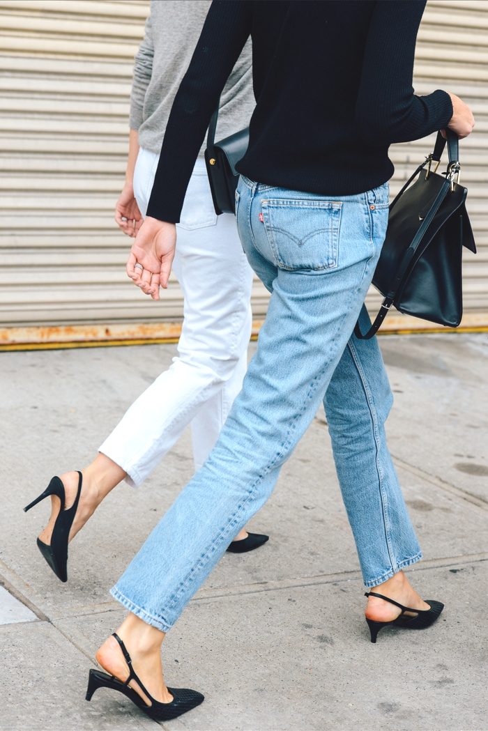 New York fashion Week SS2015 high waisted jeans  street style