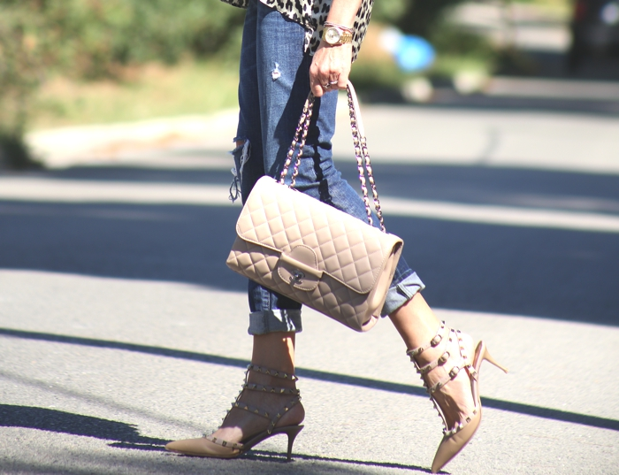 Valentino Rockstuds, jeans, Chanel bag