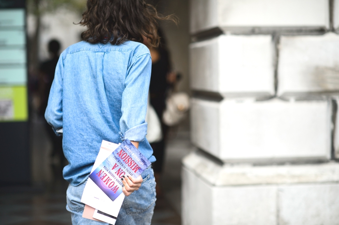 London Fashion Week SS2015 denim street style