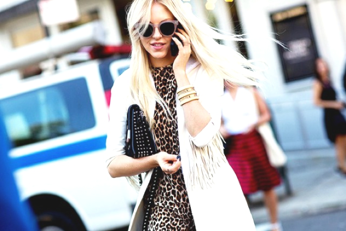 leopard dress NYFW street style