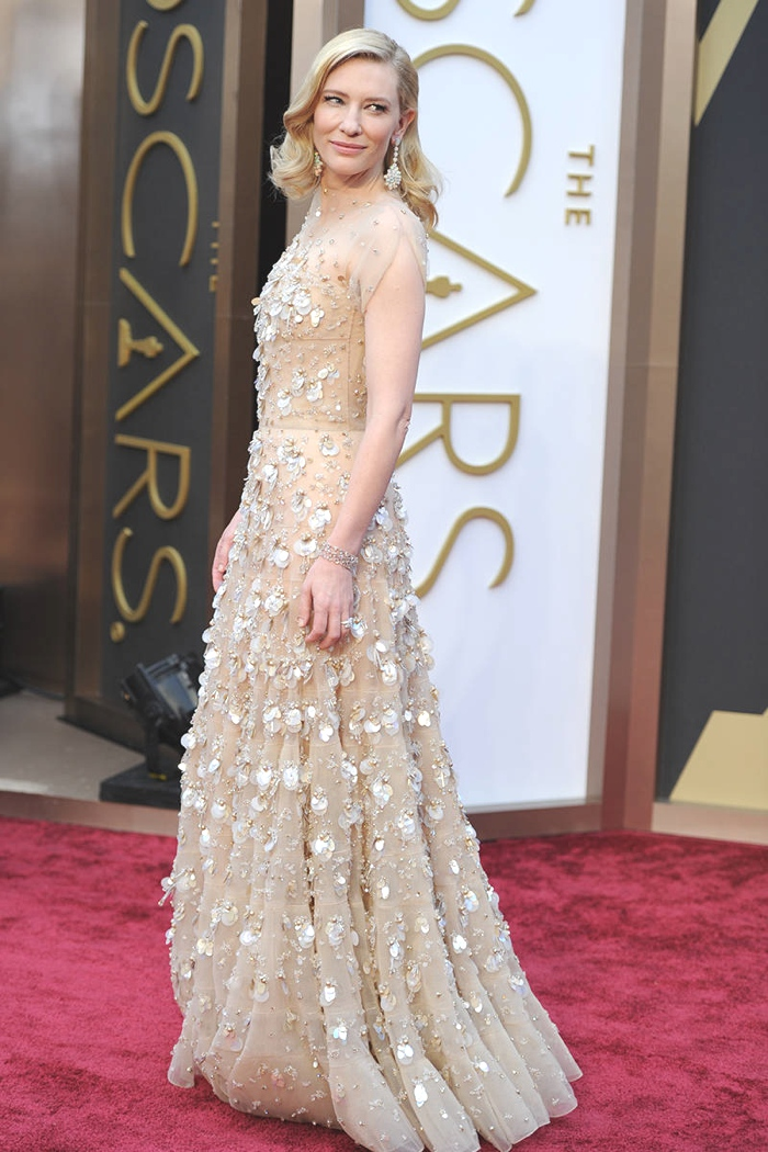 Cate Blanchett nude color red carpet gown