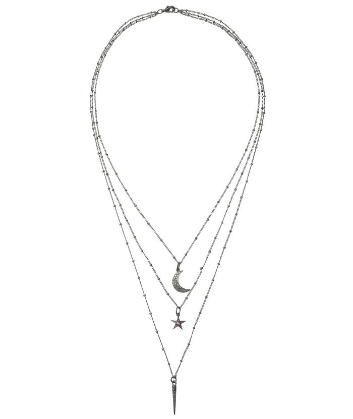 IAM BY ILEANA MAKRI Grey Diamond Treasure 3-Row Necklace