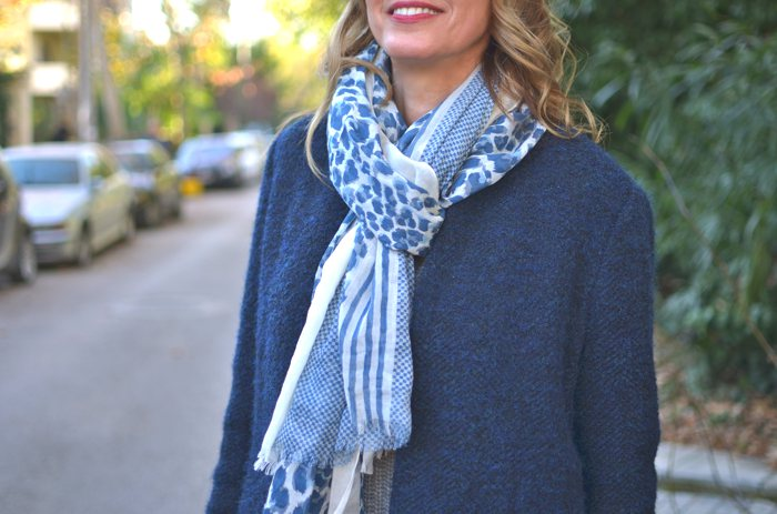 Moon Cats Scarf Leopard and Stripes Blue