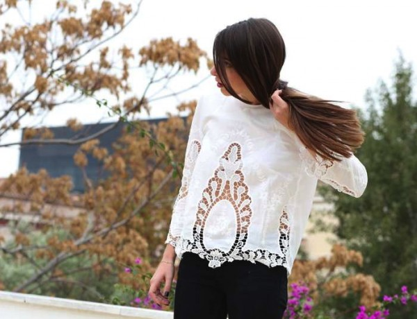 Niki White lace blouse
