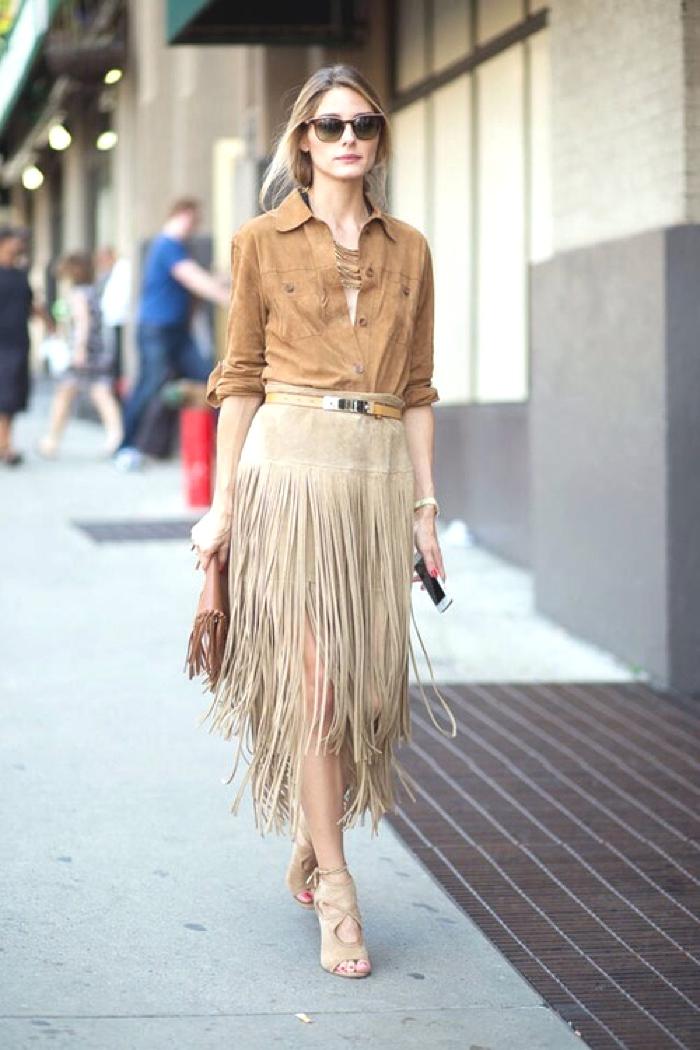 Olivia Palermo fringed skirt