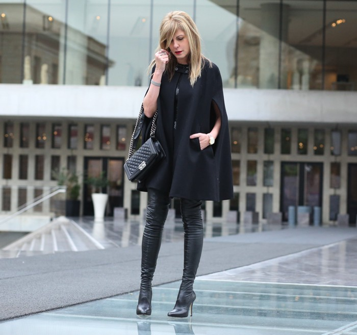 Street Style Nina Papaioannou LuisaViaRoma thigh high Strategia boots