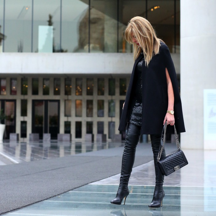 Cape and Sequins Street Style Nina Papaioannou