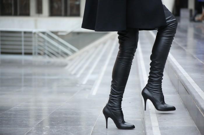 LuisaViaRoma over the knee boots, Street Style Nina Papaioannou