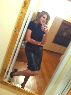 Prada leather skirt selfie