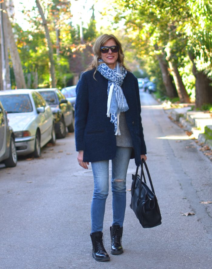 Isabel Marant coat, Celine bag, Moon Cats scarf Nina Papaioannou