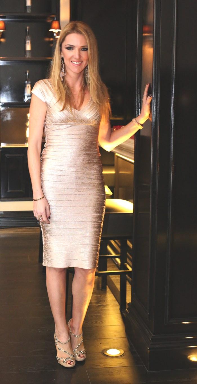 Vassia Gika Herve Leger gold dress