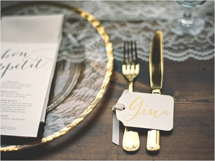 Gold table setting idea