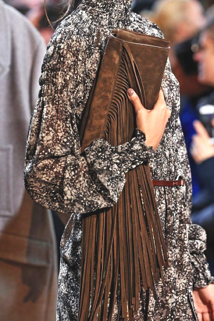 brown fringed clutch